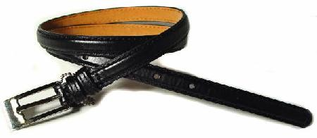 .5 Inch Black Skinny Belt for Women in Small