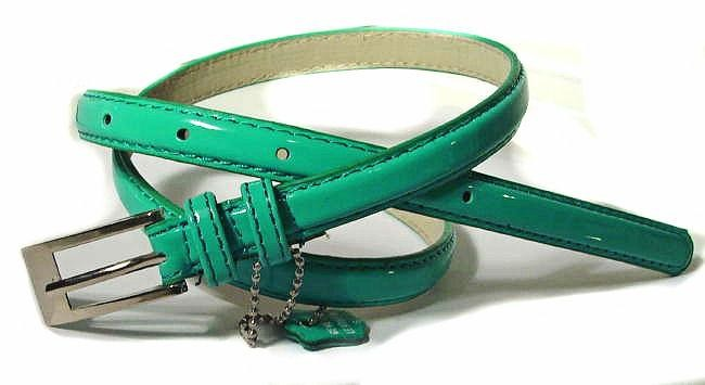 .5 Inch Glossy Turquoise Skinny Belt for Women in X-Large