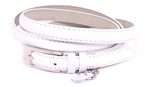 .5 Inch Glossy White Skinny Belt for Women in Medium