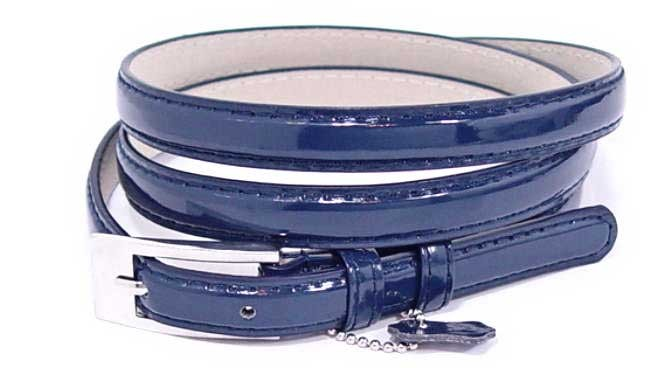 .5 Inch Glossy Navy Skinny Belt for Women in Small