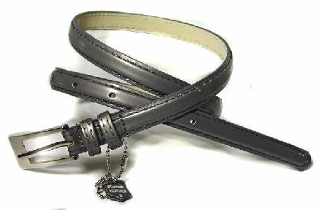 .5 Inch Glossy Gray Skinny Belt for Women in Small