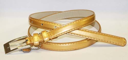 .5 Inch Golden Skinny Belt for Women in Medium