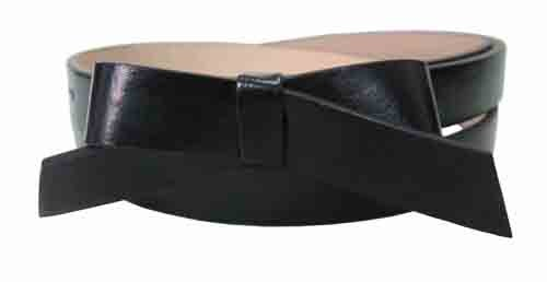 .75 Inch Flat Black Skinny Bow Belt for Women in Large
