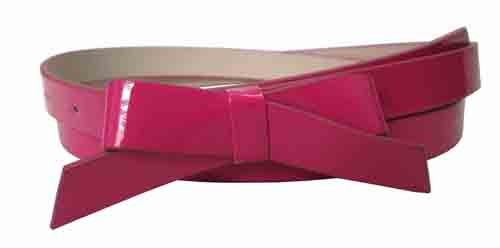.75 Inch Fuchsia Skinny Bow Belt for Women in Large