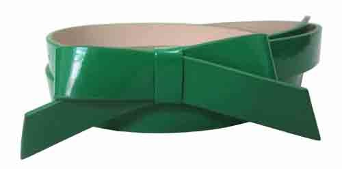 .75 Inch Green Skinny Bow Belt for Women in Large