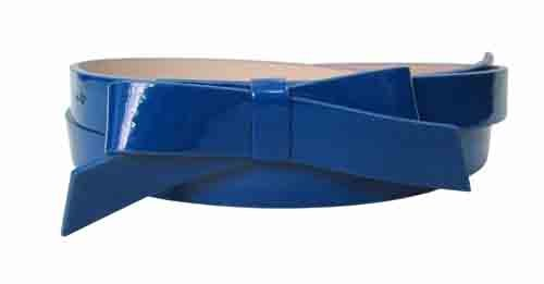 .75 Inch Navy Blue Skinny Bow Belt for Women in Medium