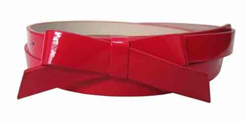 .75 Inch Red Skinny Bow Belt for Women in Medium