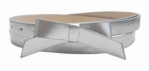 .75 Inch Silver Skinny Bow Belt for Women in Medium