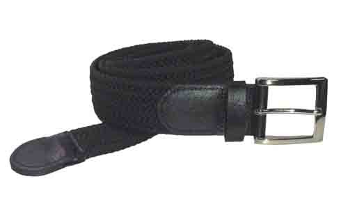 LA-4001-T BLACK WHOLESALE STRETCH LEATHER BELT, LARGE