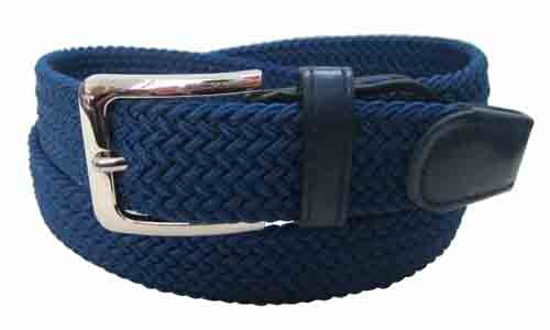 LA-4001-C NAVY WHOLESALE STRETCH LEATHER BELT, SMALL