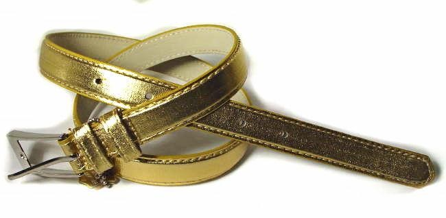 .5 Inch Glossy Gold Skinny Belt for Women in Medium