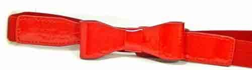 "WN-350L 1"" Wide Red Elastic W/Patent Leather matching Bow"