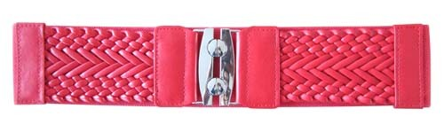 "RED 3"" WIDE STRETCH MATERIAL FASHION BELT FOR WOMEN"