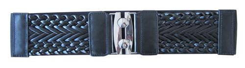 "BLACK 3"" WIDE STRETCH MATERIAL FASHION BELT FOR WOMEN"