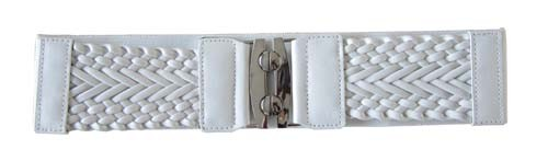 "WHITE 3"" WIDE STRETCH MATERIAL FASHION BELT FOR WOMEN"