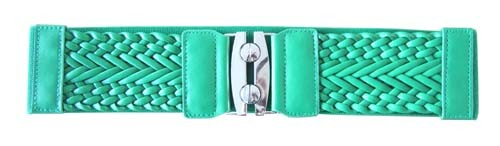 "GREEN 3"" WIDE STRETCH MATERIAL FASHION BELT FOR WOMEN"