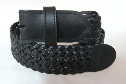 "1 1/2"" WIDE WHOLESALE BLACK BRAIDED BELT STRAP WITH SNAP CLOSURES, LARGE"