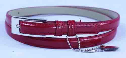 .5 Inch Glossy Burgundy Skinny Belt for Women in Medium