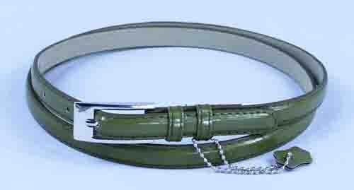 .5 Inch Glossy Olive Skinny Belt for Women in Medium