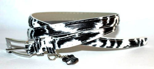 .5 Inch White and Black Zebra Print Skinny Belt for Women in Large