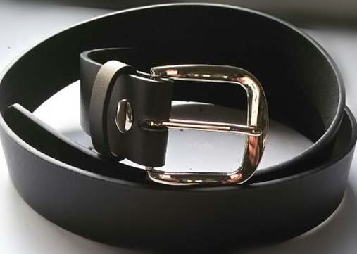 LA-4455 PLAIN BLACK LEATHER BELT STRAP W/SNAPS & BU-55, X-LARGE (42/44)
