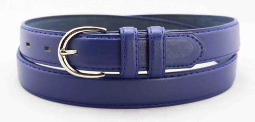 "WN-BD148 1 1/4"" DRESS BELT WITH DOUBLE KEEPER - BLUE, LARGE (38/40)"