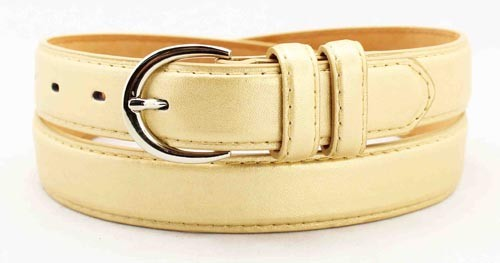 "WN-BD148 1 1/4"" DRESS BELT WITH DOUBLE KEEPER - LIGHT GOLD, LARGE (38/40)"