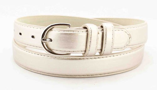 "WN-BD148 1 1/4"" DRESS BELT WITH DOUBLE KEEPER - LIGHT SILVER, MEDIUM (34/36)"