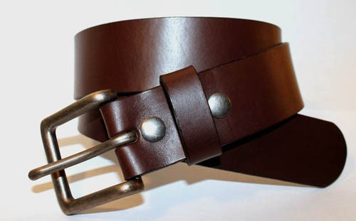 "LA-1300 1.5"" WIDE COWHIDE 8 TO 10 OZ BROWN LEATHER BELT IN 32"""
