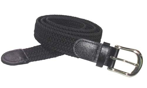 LA-501BK-T BLACK WHOLESALE STRETCH LEATHER BELT, MEDIUM