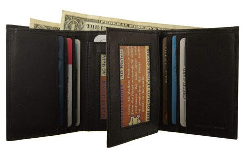 WA-1221 COWHIDE TRIFOLD LEATHER WALLET W/CTR FLAP IN BLACK