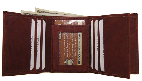 WA-1221 COWHIDE TRIFOLD LEATHER WALLET W/CTR FLAP IN BURGUNDY