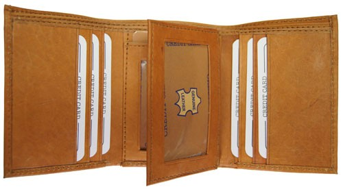 WA-1221 COWHIDE TRIFOLD LEATHER WALLET W/CTR FLAP IN TAN