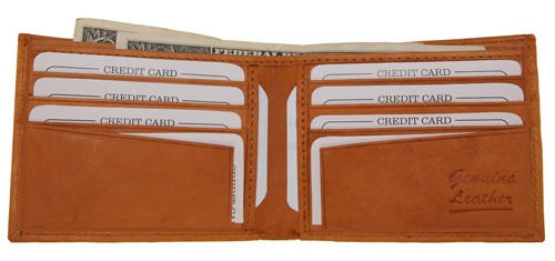 WA-1408 COWHIDE BIFOLD LEATHER WALLET W/CTR FLAP IN TAN