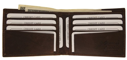 WA-1408 COWHIDE BIFOLD LEATHER WALLET W/CTR FLAP IN BROWN