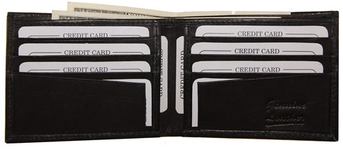 WA-1408 COWHIDE BIFOLD LEATHER WALLET W/CTR FLAP IN BLACK