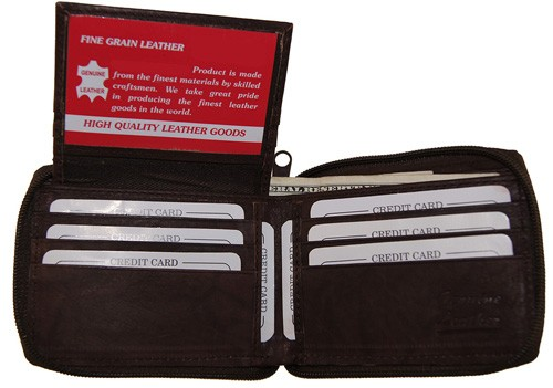 WA-1306 COWHIDE ZIP AROUND LEATHER WALLET W/CTR FLAP IN BROWN