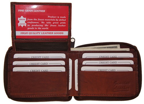 WA-1306 COWHIDE ZIP AROUND LEATHER WALLET W/CTR FLAP IN BURGUNDY