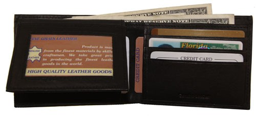 WA-1203 COWHIDE BIFOLD LEATHER WALLET W/CTR FLAP UP IN BLACK