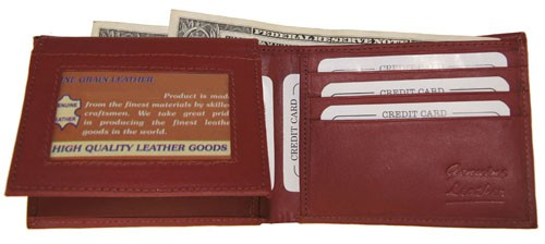 WA-1203 COWHIDE BIFOLD LEATHER WALLET W/CTR FLAP UP IN BURGUNDY