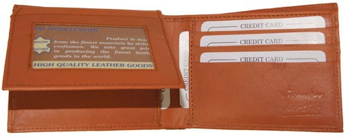 WA-1203 COWHIDE BIFOLD LEATHER WALLET W/CTR FLAP UP IN TAN