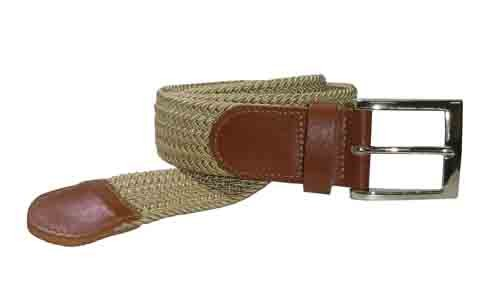 LA-4001-T BEIGE WHOLESALE STRETCH LEATHER BELT, MEDIUM