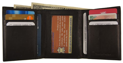 WA-1205 COWHIDE TRIFOLD LEATHER WALLET IN BLACK