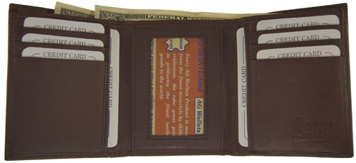 WA-1205 COWHIDE TRIFOLD LEATHER WALLET IN BROWN