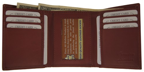 WA-1205 COWHIDE TRIFOLD LEATHER WALLET IN BURGUNDY