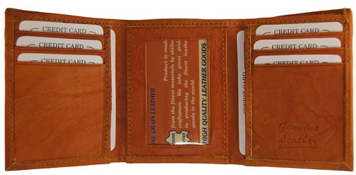 WA-1205 COWHIDE TRIFOLD LEATHER WALLET IN TAN
