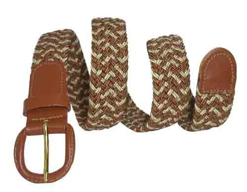 LA-400 TAN/BEIGE STRETCH BELT, MEDIUM (34/36)