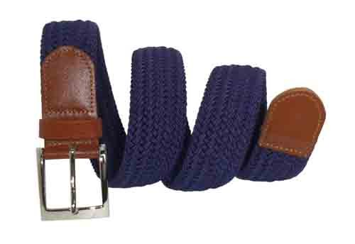 LA-4001-T NAVY WITH TAN WHOLESALE STRETCH LEATHER BELT, MEDIUM