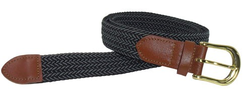LA-401 BLACK & GRAY MIX STRETCH BELT, MEDIUM (34/36)