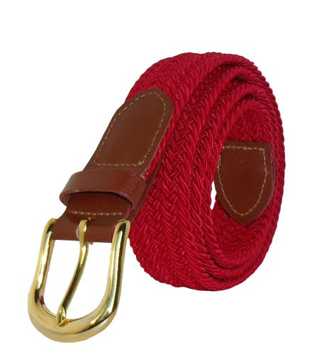 LA-401SD SOLID RED STRETCH BELT, MEDIUM (34/36)